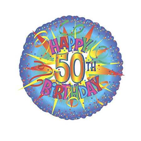 Happy 50th Birthday Burst Balloon (18 Inch Mylar) Pkg/5