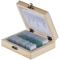 AmScope PS25W Prepared Microscope Slide Set for Basic Biological Science Education, 25 Slides, Includes Fitted Wooden Case
