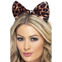 "21.5"" Brown and Black Cheetah Bow Women Headband Costume Accessory - One Size"
