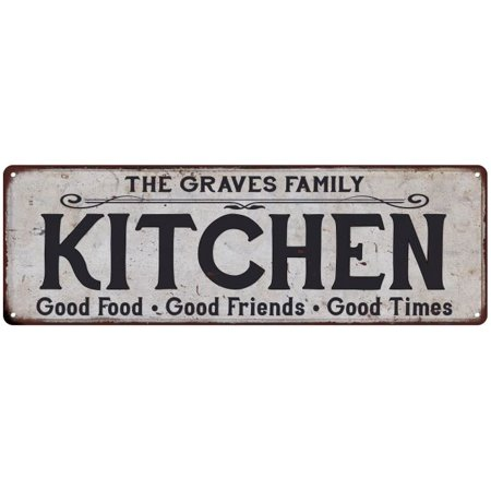 THE GRAVES FAMILY KITCHEN Personalized Chic Metal Sign 6x18 106180039341 - Personalized Grave Decorations