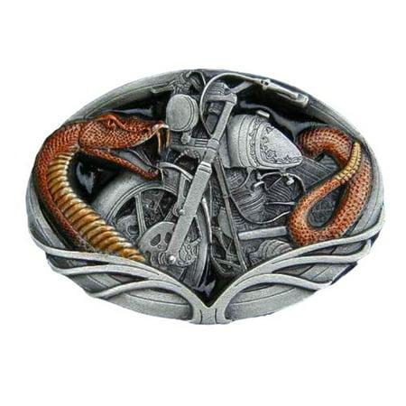 Snake And Motorcycle-enamled Novelty Belt Buckle