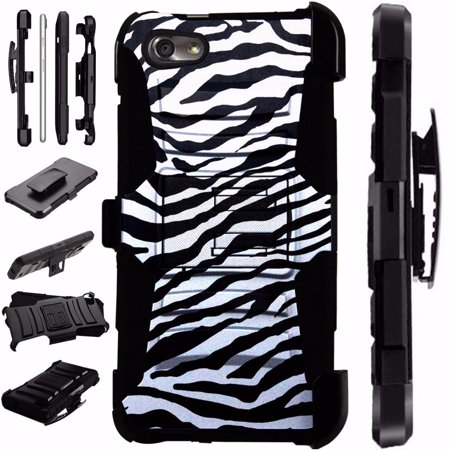 For ZTE ZFive G LTE / ZFive C / Avid 4 / Fanfare 3 / Blade Vantage / Tempo X / Tempo Go Case Armor Hybrid Phone Cover Stand LuxGuard Holster (Zebra Print) ()