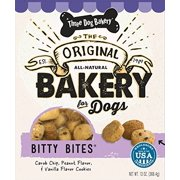 (3 Pack) Three Dog Bakery Bitty Bites Carob, Peanut Butter and Vanilla Limited Ingredient Dry Dog Treat, 13 - 3 Headed Dog