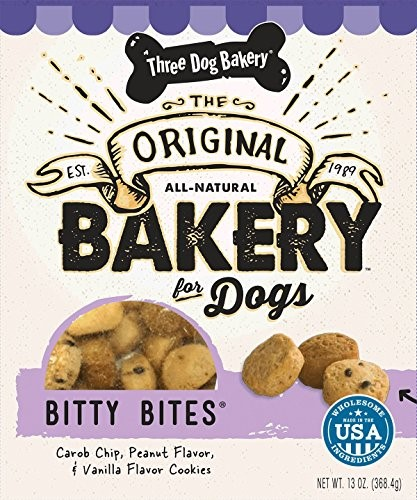 Three Dog Bakery Bitty Bites Carob, Peanut Butter and Vanilla Limited Ingredient Dry Dog Treat, 13 Oz