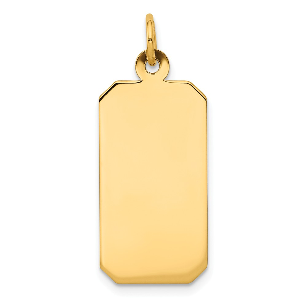 14k Yellow Gold Plain 0.009 Gauge Engravable Rectangular Disc Charm (1.1in long x 0.4in wide)