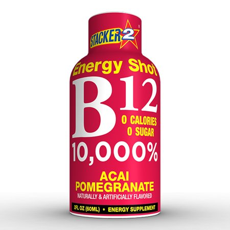 Stacker 2 B12 Energy Shot, Acai Pomegranate, 2 Fl Oz (Innerpack of