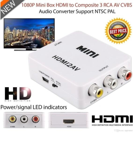 HD Multimedia Interface to 3RCA AV CVBS Composite and S-Video R//L Audio FF