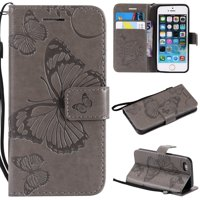 iPhone 5S/5G Wallet Case, iPhone SE Case, Dteck Embossed Big Butterfly Magnetic Flip PU Leather Folio Stand Case Cover Built-in Card Slots & Money Pocket, with wrist Strap, Gray