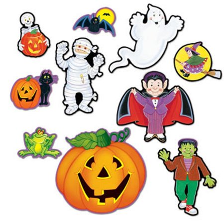 Club Pack of 120 Pumpkins, Monsters, Vampires and Ghost 2 Sided Design Halloween Cutout Decorations