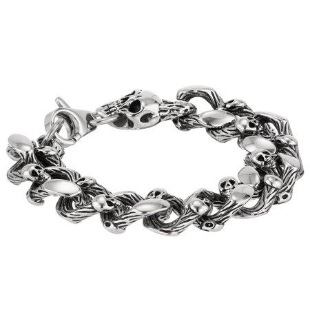 Metro Jewelry Stainless Steel Thick Skull Bracelet