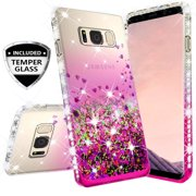 Compatible for Samsung Galaxy Note 5 Case, with [Temper Glass Screen Protector] SOGA Diamond Glitter Liquid Quicksand Cover Cute Girl Women Phone Case [Clear/Pink]