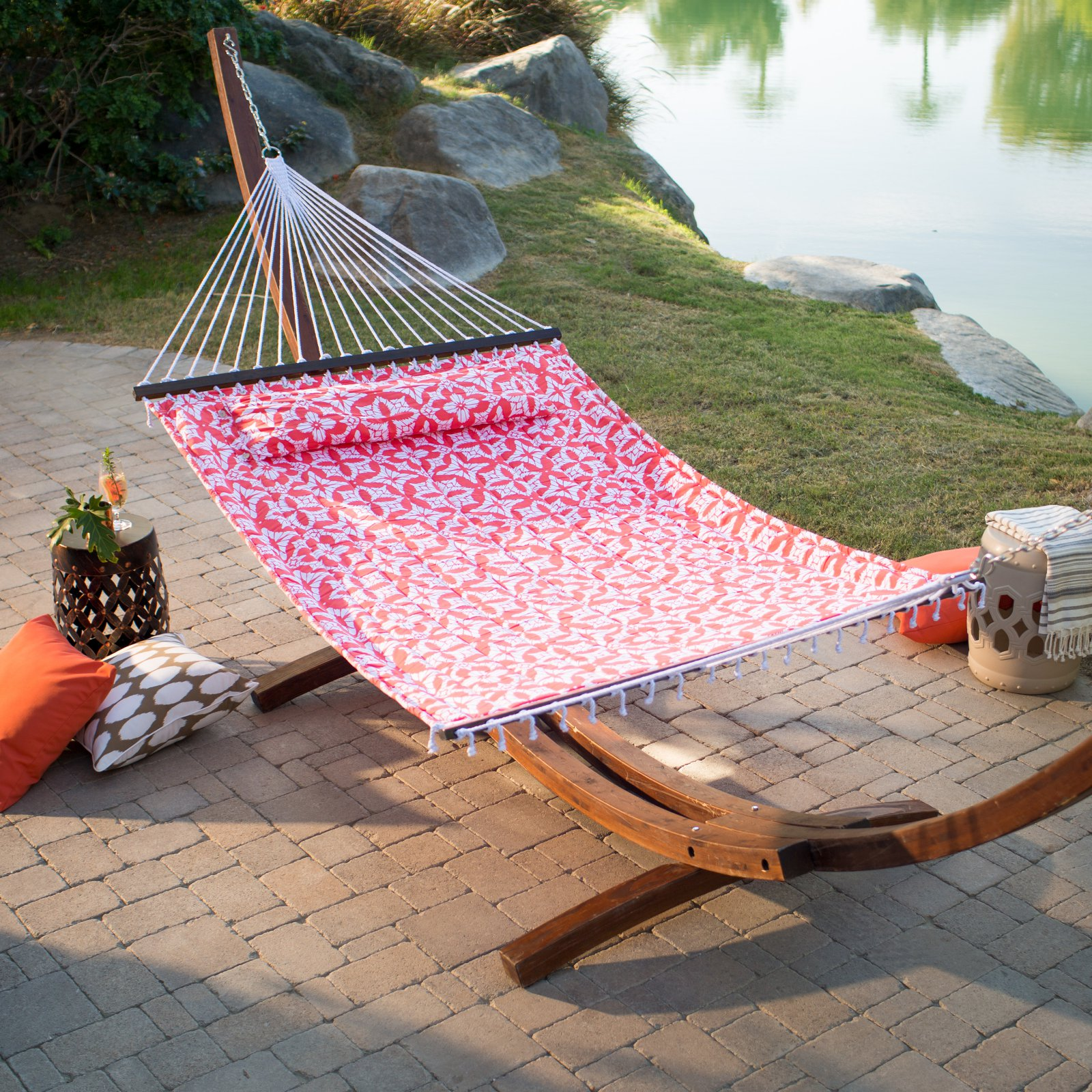Coral Coast 13 ft. Kula Coral Quilted Hammock with Russian Pine Stand
