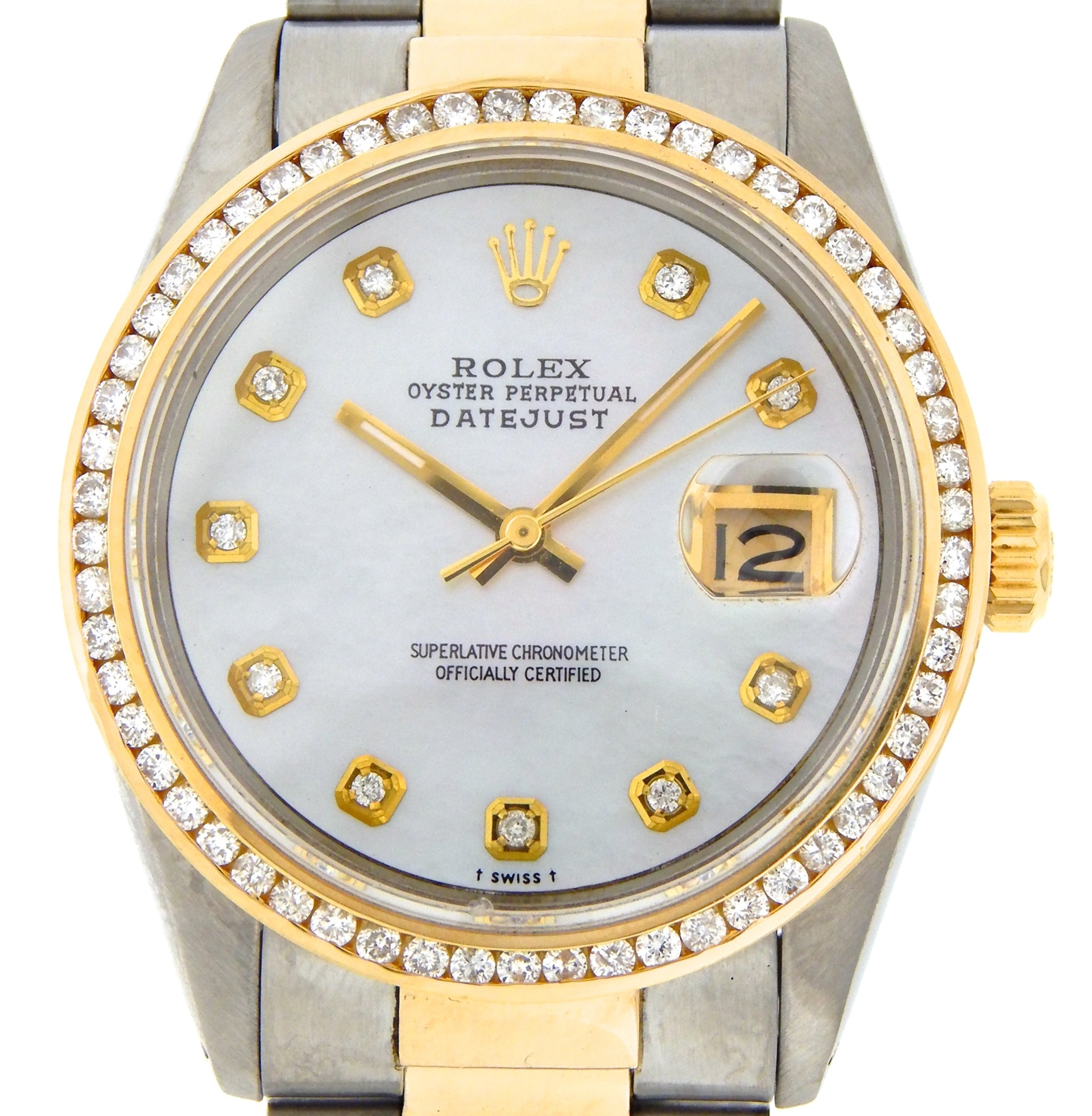 Pre-Owned Mens Rolex Two-Tone 18K/SS Datejust White MOP Diamond 16013 (SKU 9031507MT)