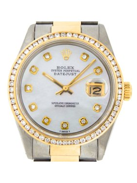 34a0710fe4e7 Product Image Pre-Owned Mens Rolex Two-Tone 18K SS Datejust White MOP  Diamond 16013