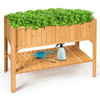 Raised Garden Bed Elevated Planter Box Shelf Standing Garden Herb Garden Wood