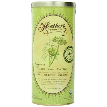 Heather's Tummy Teas Organic Fennel Tea Bags (45 Jumbo Teabags) for IBS, 8.82 (Best Fiber For Ibs)