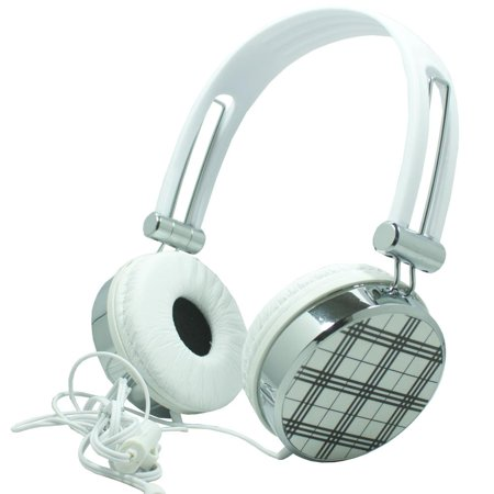 Overhead Mobile - Premium Over-Head Stereo Handsfree Headset Headphones w/ Mic for Vertu Signature Touch,General Mobile GM5, Lenovo P2, Vibe K6, PALM Pixi Plus, Pixi (White Pattern) + MND Stylus