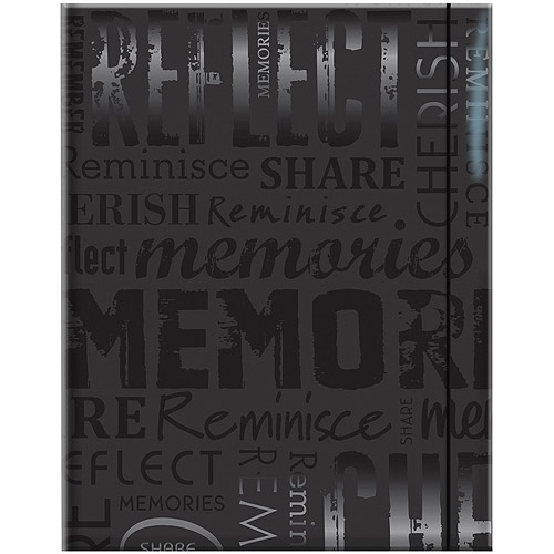 "Embossed Gloss Expressions 100-Pocket Photo Album, 4.75"" x 6.5"", Memories, Black"