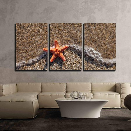 - wall26 - 3 Piece Canvas Wall Art - Summer Vacations - Starfish in Water Waves on Sea Sand Beach - Modern Home Decor Stretched and Framed Ready to Hang - 24