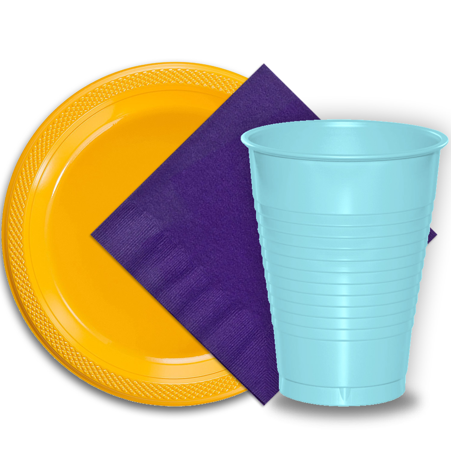 "50 Yellow Plastic Plates (9""), 50 Light Blue Plastic Cups (12 oz.), and 50 Purple Paper Napkins, Dazzelling Colored Disposable Party Supplies Tableware Set for Fifty Guests."