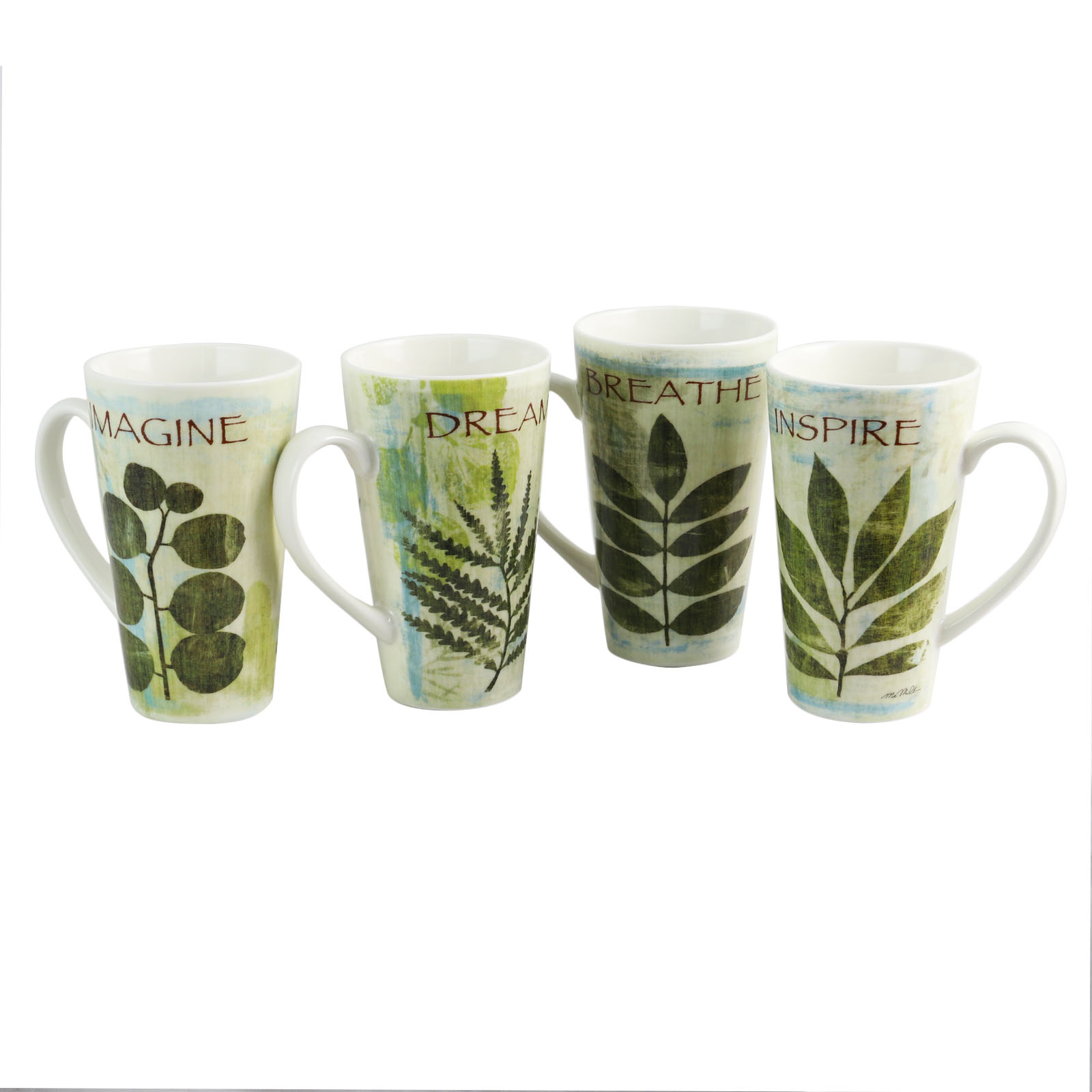 Gibson Home Nature Pressed 4 Piece 16 oz. Cone Shape Mug Set in Assorted Colors