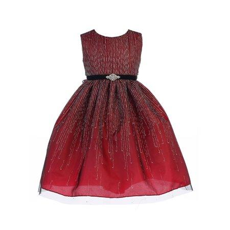 Crayon Kids Little Girls Red Glitter Brooch Tea-Length Christmas Dress](Crayon Dress)