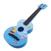 """Toy Guitar Rock Star 6 String Acoustic Kids 25.5"""" Ukulele With Guitar Pick Children's Musical Instrument Vibrant Sound Tunable Strings Educational And Perfect For Learning How To Play Blue Color"""