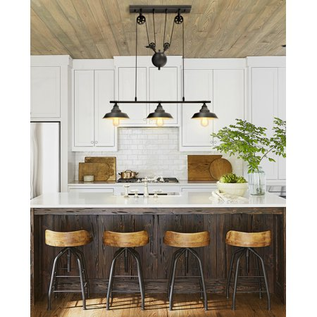 - Pulley Pendant Light, KingSo Three-Light Kitchen Island Light Adjustable Industrial Rustic Chandelier Farmhouse Vintage Ceiling Lights Fixture for Kitchen Island Dining Room Foyer