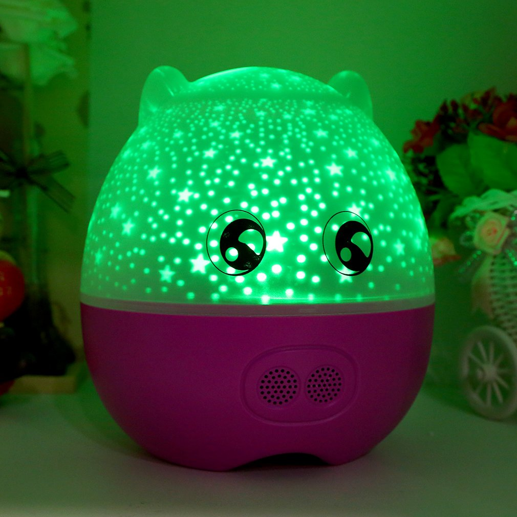 Rotating Projection Lamp Star Master LED Night Light With Speaker Great Gift With Lovely Pig Shape