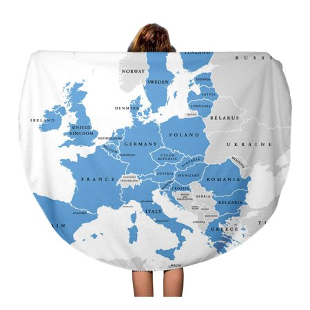 SIDONKU 60 inch Round Beach Towel Blanket European Union Countries English Labeling Political Map Borders Travel Circle Circular Towels Mat Tapestry Beach Throw