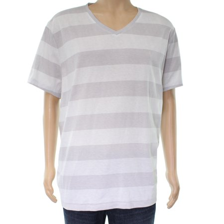 e37a780c5f83 Alfani NEW Bright White Mens Size Large L Wide Striped V Neck Tee T-Shirt