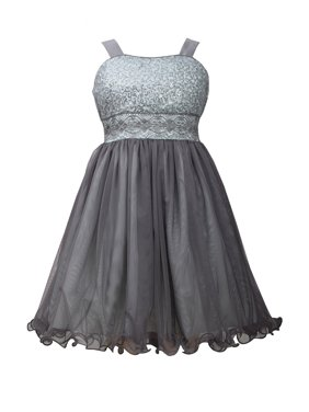 640427b2f1e Product Image Bonnie Jean Big Girls Grey Sequin to Tulle Dress 7