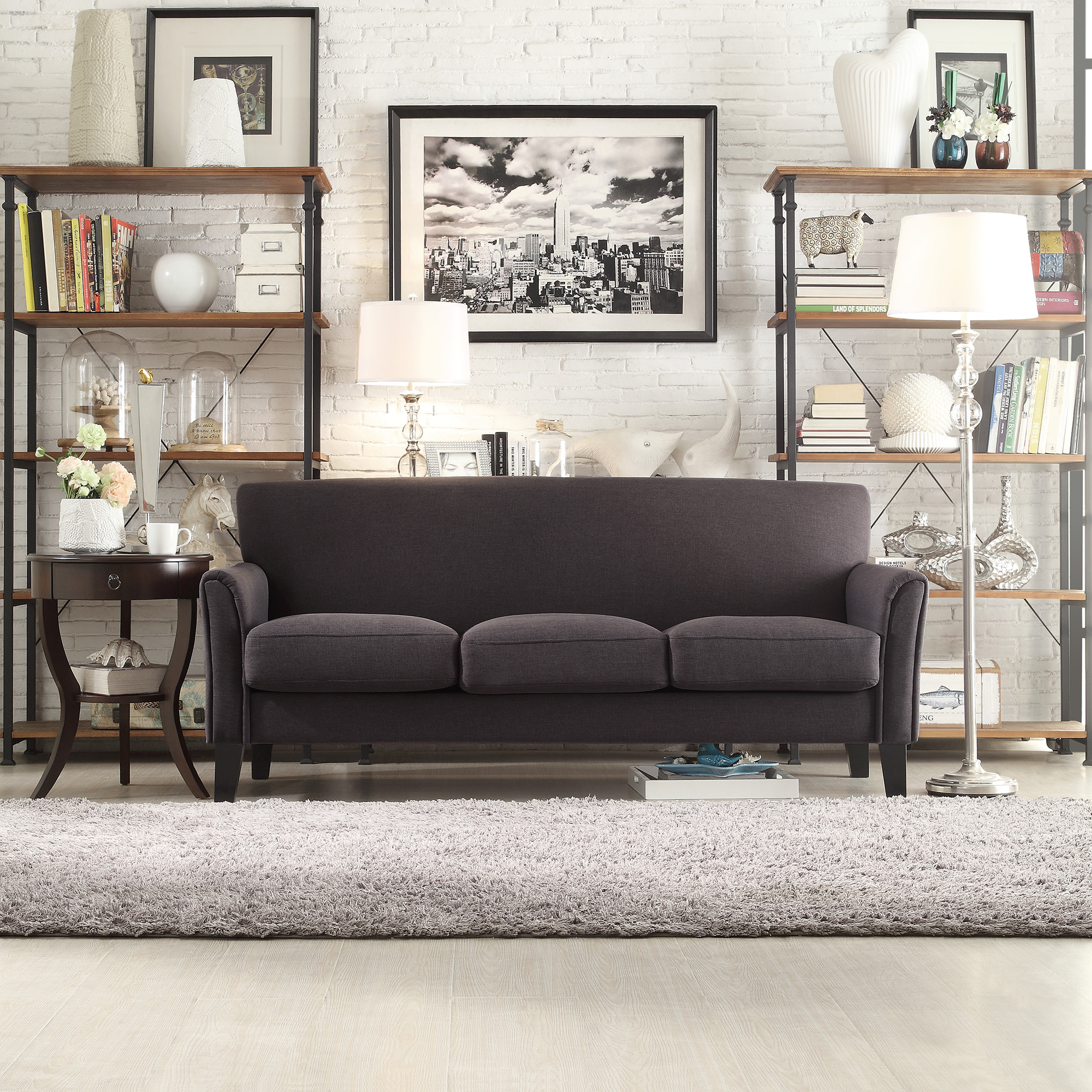 Weston Home Tribeca Living Room Upholstered Sofa, Dark Gray Linen -  Walmart.com