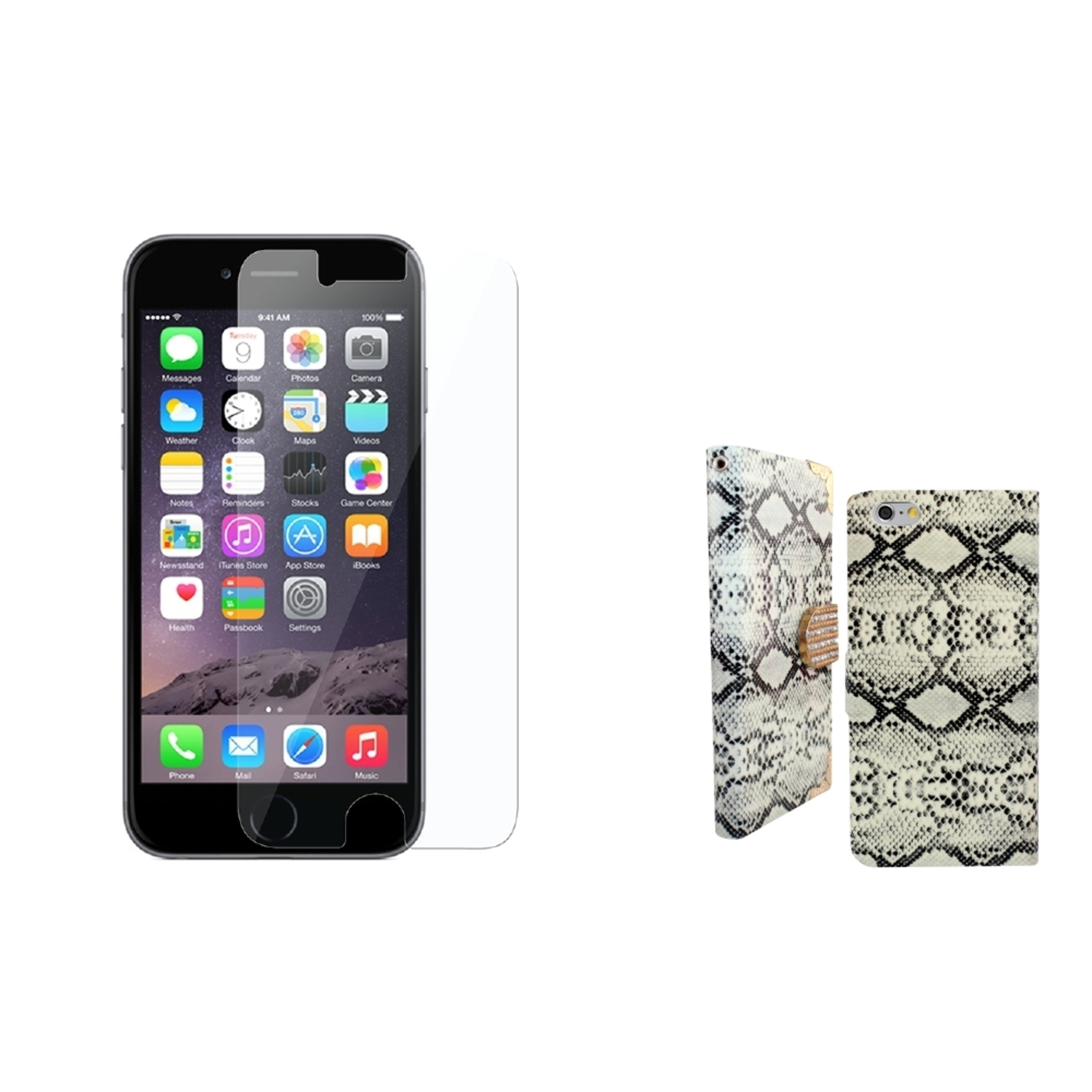 "Insten Flip Leather Snake Skin Cover Case w/card slot/Diamond +Protector For iPhone 6 Plus / 6S Plus 5.5"" - White"