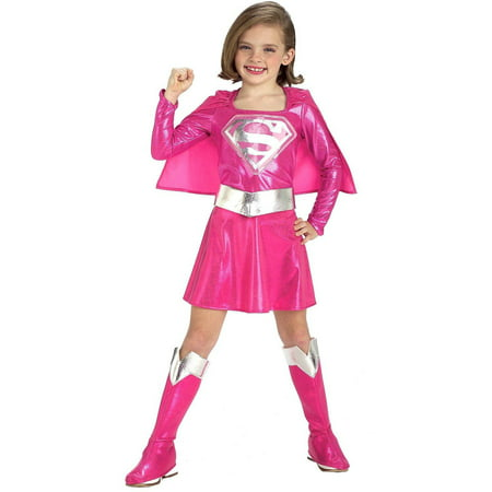 Pink Supergirl Child Halloween Costume, Medium (8-10) (Pink Super Girl Costume)