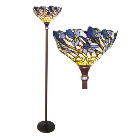 "Chloe Lighting 1-Light Tiffany-Style Iris Torchiere Floor Lamp with 17"" Shade"