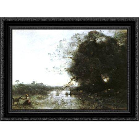 Le Marais Au Grand Arbre Et A La Chevriere 24x20 Black Ornate Wood Framed Canvas Art by Corot, Jean Baptiste (Camille Et Jean)