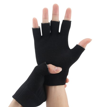 1 pair Gel gloves Moisturizing Spa Gloves Half Finger Touch Screen Gloves Gel Line with Essential Oils and Vitamin E (Black)