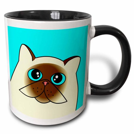 3dRose The Curious Cat Himalayan with Blue Eyes Blue - Two Tone Black Mug,