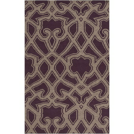 5' x 8' Transcendent Composition Eggplant Purple and Gray Hand Woven Reversible Wool Area Throw Rug ()