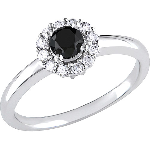 1/2 Carat T.W. Black Diamond Engagement Ring in 10kt White Gold with White Diamond Accents
