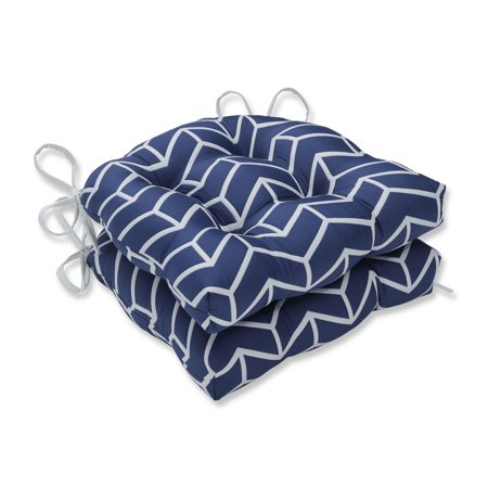 """Set of 2 Navy Blue and White Reversible Chevron Chair Cushions 15.5"""""""