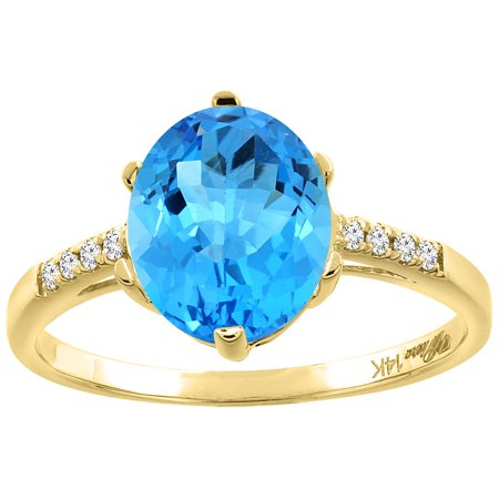 Natural Oval Swiss (14K Yellow Gold Natural Swiss Blue Topaz & Diamond Ring Oval 10x8 mm, size)