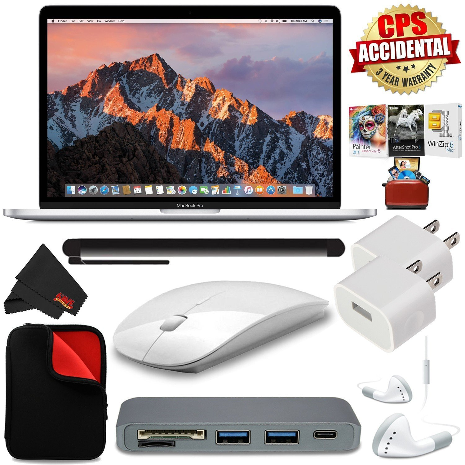 "6Ave Apple 13"" MacBook Pro, Retina, Touch Bar, 3.1GHz Intel Core i5 Dual Core (MPXY2LL/A) + Universal Stylus for Tablets + Padded Case For Macbook + Type-C USB 3.0 HUB Bundle"
