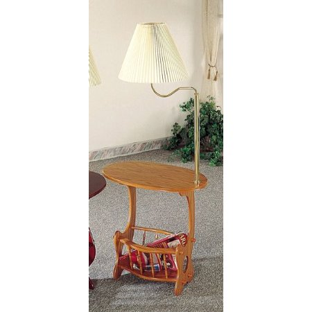 All New Item Oak Finish Wood Side Table With Magazine Rack