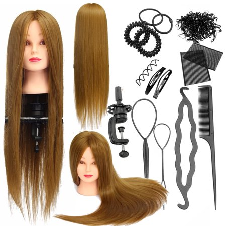 LuckyFine Hairdressing Mannequin Head 30% Human Hair Cosmetology Training Head Doll + Clamp + Braid