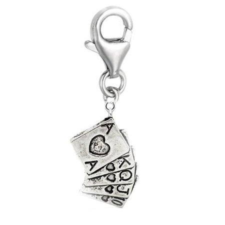 Las Vegas Poker Card Charm Clip on Pendant for European Charm Jewelry w/ Lobster - Vega Glass Pendant