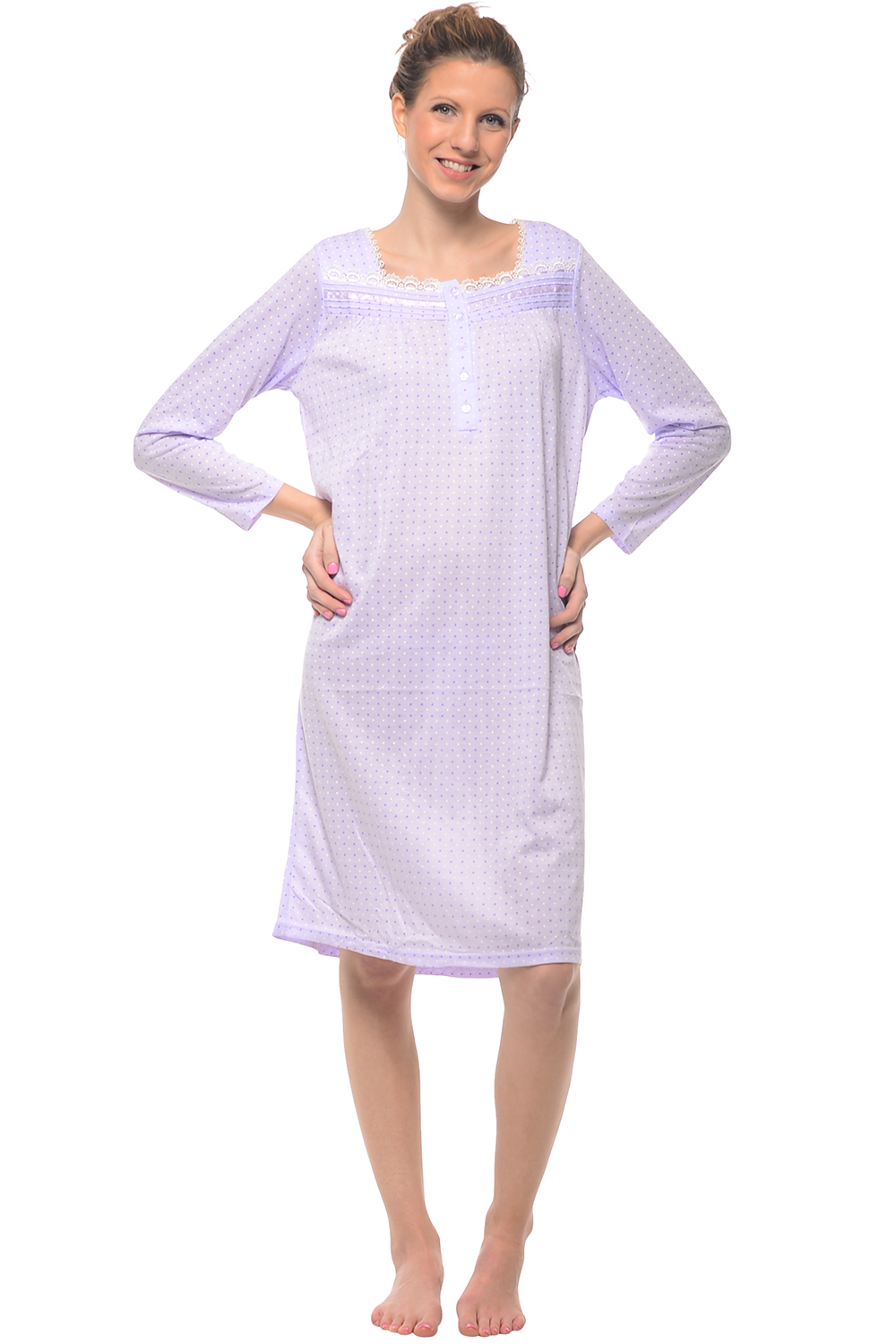 Casual Nights Women's Long Sleeve Dot Nightgown