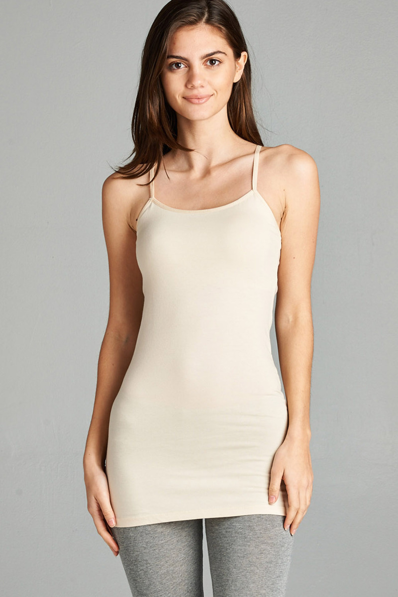 TheLovely Women's & Juniors BASIC ADJUSTABLE SPAGHETTI STRAP TUNIC CAMI W/ SHELF BRA