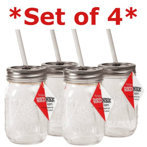 Rednek Sipper Drinking Jar Acrylic 16 Oz Set Of 2 Dw Safe Boxed
